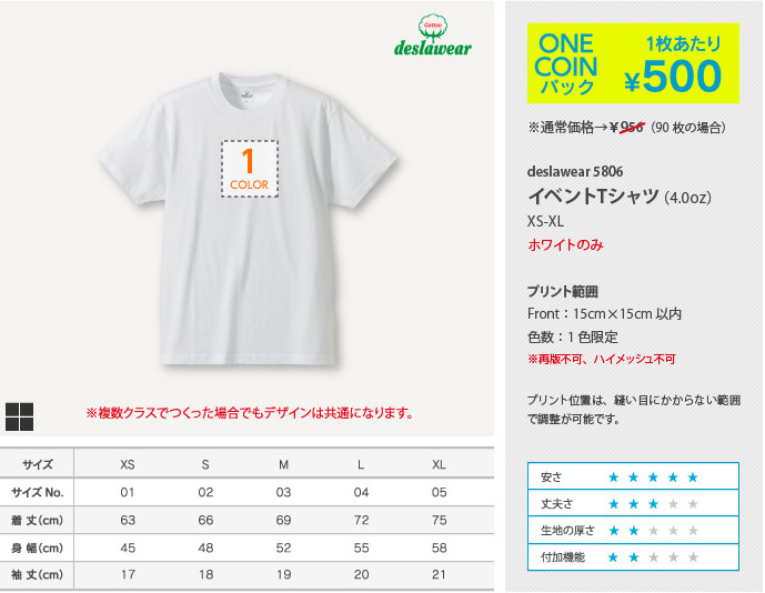 ONE COINパック 1枚あたり¥500